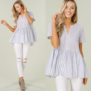 Blue Striped Short Sleeve Babydoll Top